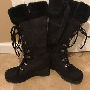 Lace up wedge boots